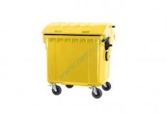 Купить Контейнер для отходов 1100 л с крышкой и колесами (пластиковый)